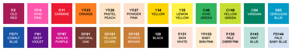 Shin Han Touch Twin Brush 24 Marker Set Color Swatches